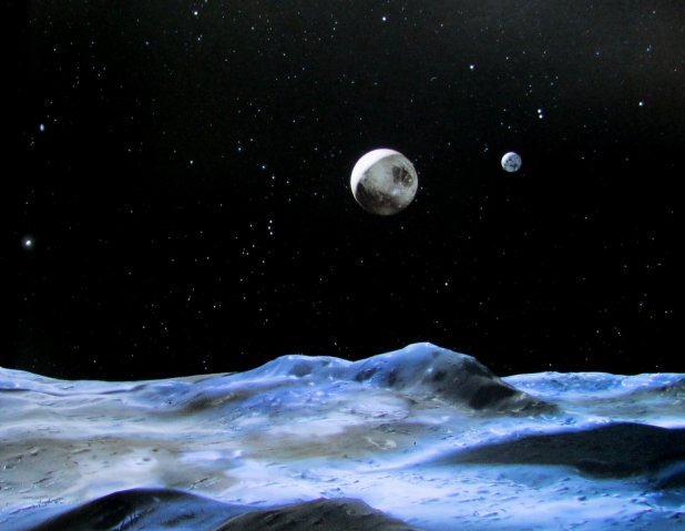 Artists view of Pluto (centre) and moon Charon (background to the right). Credit NASA